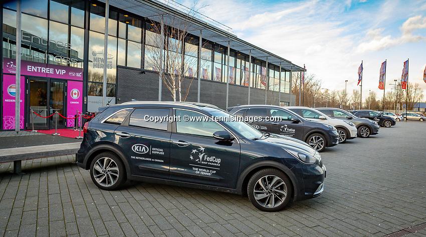 Den Bosch, The Netherlands, Februari 07 2019,  Maaspoort , FedCup  Netherlands - Canada, KIA official car's<br /> Photo: Tennisimages/Henk Koster