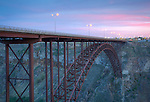 Idaho, south central, Twin Falls. The Perrine Bridge at in twilight.