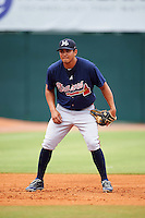 Mississippi Braves third baseman Rio Ruiz (5) during practice before a game against the Mobile BayBears on April 28, 2015 at Hank Aaron Stadium in Mobile, Alabama.  The game was suspended after the top of the second inning with Mobile leading 3-0, the BayBears went on to defeat the Braves 6-1 the following day.  (Mike Janes/Four Seam Images)