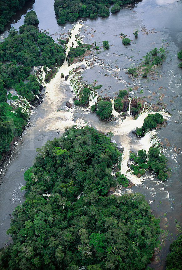 Aerial view of waterfall on Jari River, northern tributary of the Amazon, coming down from Guyana Highlands, Brazil, limit Para/Amapa..