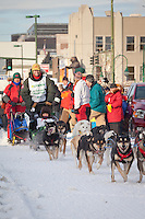 leave the 2011 Iditarod ceremonial start line in downtown Anchorage, Alaska