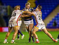 13th November 2020; The Halliwell Jones Stadium, Warrington, Cheshire, England; Betfred Rugby League Playoffs, Catalan Dragons versus Leeds Rhinos; Matt Prior of Leeds Rhinos is tackled by Jason Baitieri and Sam Moa of Catalans Dragons