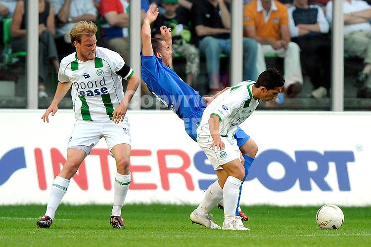 voetbal fc groningen nec play off eredivisie seizoen 2007-2008 11-05-2008  stenman en haiariej verdedigen..fotograaf Jan Kanning.. ..