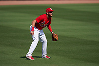 St. Louis Cardinals outfielder Austin Dean (0) during a Major League Spring Training game against the Houston Astros on March 20, 2021 at Roger Dean Stadium in Jupiter, Florida.  (Mike Janes/Four Seam Images)