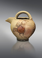 Bridge spouted jug bird decorated. Early Cycladic I (1650-1550 BC); Phylakopi; Melos. National Archaeological Museum Athens. Cat No 5768.  Grey background.<br /> <br /> <br /> During this Cycladic period the pottery designs were heavily influenced by Cretean minoan with pottery like this using bird patterns.