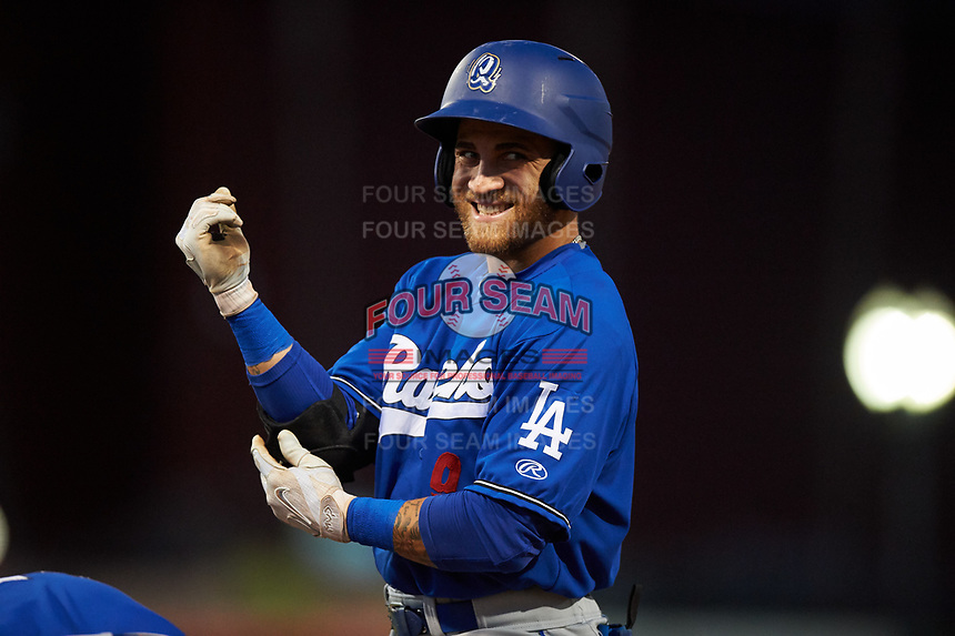 Rancho Cucamonga Quakes right fielder Saige Jenco (9) smiles at his hecklers in the stands during a California League game against the Stockton Ports at Banner Island Ballpark on May 16, 2018 in Stockton, California. Rancho Cucamonga defeated Stockton 6-3. (Zachary Lucy/Four Seam Images)