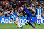 Luis Alberto Suarez Diaz (r) of FC Barcelona fights for the ball with Paul Baysse of Malaga CF during the La Liga 2017-18 match between FC Barcelona and Malaga CF at Camp Nou on 21 October 2017 in Barcelona, Spain. Photo by Vicens Gimenez / Power Sport Images
