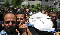 """Palestinian carry the body  of Islamic Jihad militant Raad Fanona got to fueral in Gaza City following an Israeli offensive, 27 June 2007. Nine Palestinians were killed as Israel launched twin offensives in the Gaza Strip, triggering the deadliest violence since Hamas fighters overran the territory 12 days ago.""""photo By Fady Adwan"""""""