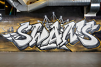 The Swans graffiti on a wall in the concourse of the South Stand of the Liberty Stadium. Friday 27 April 2018
