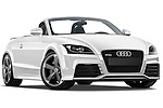 Low aggressive passenger side front three quarter view of a 2010 - 2014 Audi TT RS Convertible.