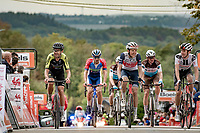 smiling faces (by later arrivals) crossing the finish line up the infamous Mur de Huy<br /> <br /> 84th La Flèche Wallonne 2020 (1.UWT)<br /> 1 day race from Herve to Mur de Huy (202km/BEL)<br /> <br /> ©kramon
