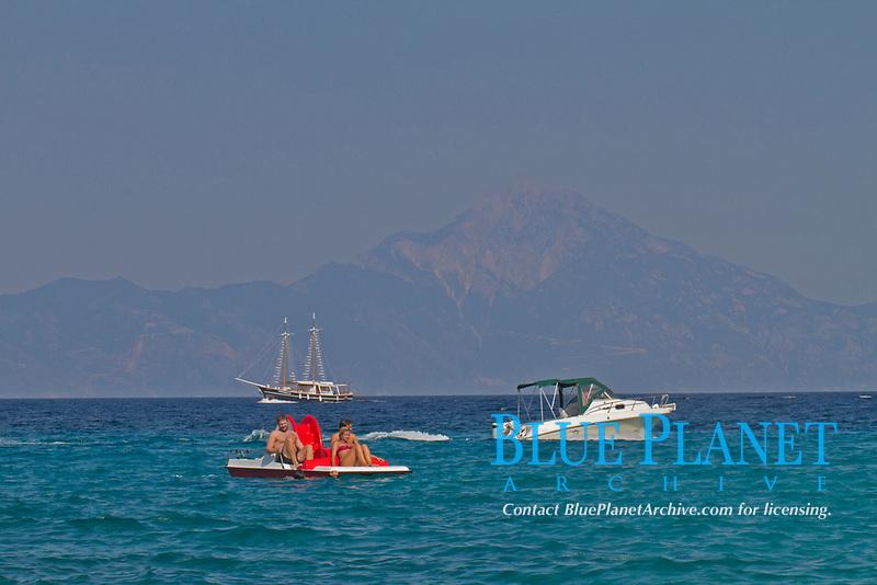 water sports, Armenisti camping, Athos at backround , Chalkidiki, Greece, Aegean sea, Mediterranean