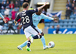Dundee v St Johnstone....29.09.12      SPL.Nigel Hasselbaink is closed down by Mark Kerr.Picture by Graeme Hart..Copyright Perthshire Picture Agency.Tel: 01738 623350  Mobile: 07990 594431
