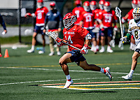 1 May 2021: Stony Brook University Seawolves Midfielder David Miele-Estrella, a Junior from North Babylon, NY, in action against the University of Vermont Catamounts at Virtue Field in Burlington, Vermont. The Cats edged out the Seawolves 14-13 with less than one second to play in their America East Men's Lacrosse matchup. Mandatory Credit: Ed Wolfstein Photo *** RAW (NEF) Image File Available ***