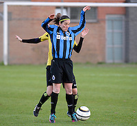 20140502 - VARSENARE , BELGIUM : Brugge's Lore Dezeure pictured during the soccer match between the women teams of Club Brugge Vrouwen  and WD Lierse SK  , on the 26th matchday of the BeNeleague competition on Friday 2 May 2014 in Varsenare .  PHOTO DAVID CATRY