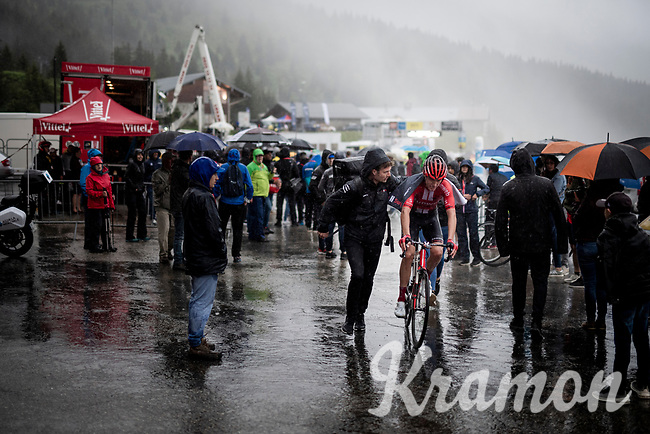 misty finish line arrival by Robert Power (AUS/Sunweb)<br /> <br /> torrential rainstorm hits Stage 7: Saint-Genix-les-Villages to Pipay  (133km)<br /> 71st Critérium du Dauphiné 2019 (2.UWT)<br /> <br /> ©kramon