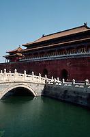 China, Kaiserpalast von Peking, Wu Men (Mittagstor) und Goldwasserfluss, Unesco-Weltkulturerbe