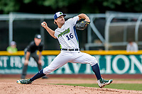 25 July 2017: Vermont Lake Monsters pitcher Wyatt Marks, a 13th round draft pick for the Oakland Athletics, on the mound against the Tri-City ValleyCats, recording his first professional career win at Centennial Field in Burlington, Vermont. The Lake Monsters defeated the ValleyCats 11-3 in NY Penn League action. Mandatory Credit: Ed Wolfstein Photo *** RAW (NEF) Image File Available ***