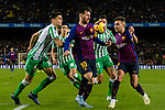 Lionel Andres Messi of FC Barcelona (C) in action against Marc Bartra Aregall of Real Betis (L) during the La Liga 2018-19 match between FC Barcelona and Real Betis at Camp Nou, on November 11 2018 in Barcelona, Spain. Photo by Vicens Gimenez / Power Sport Images