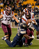 Pitt defensive end Allen Edwards makes a tackle. The Virginia Tech Hokies defeated the Pitt Panthers 39-36 on October 27, 2016 at Heinz Field in Pittsburgh, Pennsylvania.