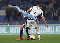 Calcio, Serie A: Lazio vs Juventus. Roma, stadio Olimpico, 4 dicembre 2015.<br /> Lazio's Alessandro Matri, left, is challenged by Juventus' Giorgio Chiellini during the Italian Serie A football match between Lazio and Juventus at Rome's Olympic stadium, 4 December 2015.<br /> UPDATE IMAGES PRESS/Isabella Bonotto