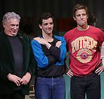 """Harvey Fierstein, Michael Urie and Ward Hortonduring the Broadway Opening Night Curtain Call for """"Torch Song"""" at the Hayes Theater on November 1, 2018 in New York City."""