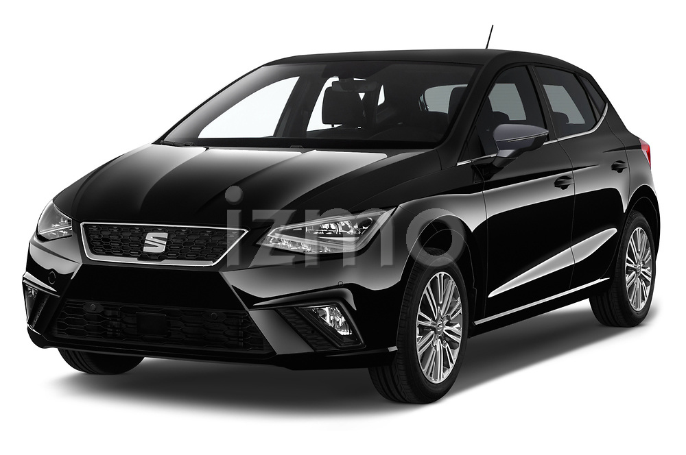 2018 Seat Ibiza Xcellence 5 Door Hatchback angular front stock photos of front three quarter view