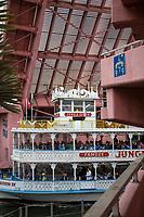 Ft. Lauderdale, Florida.  Jungle Queen Tourist Cruise Boat Passing under Andrews Street Drawbridge on New River.