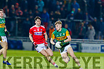 Darragh Lyne in action against his opposite number Corks Jack Lawton during the Eirgrid Munster U20 Football Final at Austin Stack park, Tralee last Wednesday March 4.