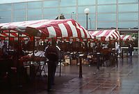 Milton Keynes: Vendor booths with canvas covers outside The Point. Photo '90.