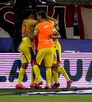 BARRANQUILLA-COLOMBIA, 07-10-2020: Jugadores de Deportivo Pasto, celebran el gol anotado a Atletico Junior, durante partido entre Atletico Junior y Deportivo Pasto, de la fecha 12 por la Liga BetPlay DIMAYOR 2020-I jugado en el estadio Romelio Martinez de la ciudad de Barranquilla. / Players of Atletico Junior, celebrate the scored goal to Atletico Junior, during a match between Atletico Junior and Deportivo Pasto of the 12th date for the BetPlay DIMAYOR Leguaje 2020-I played at the Romelio Martinez Stadium in Barranquilla city. / Photo: VizzorImage / Jairo Cassiani / Cont.