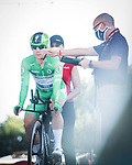 Green Jersey Fabio Jakobsen (NED) Deceuninck-Quick-Step ready to start Stage 21 final stage of La Vuelta d'Espana 2021, an individual time trial running 33.8km from Padron to Santiago de Compostela, Spain. 5th September 2021.    <br /> Picture: Charly Lopez/Unipublic | Cyclefile<br /> <br /> All photos usage must carry mandatory copyright credit (© Cyclefile | Unipublic/Charly Lopez)