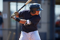New York Yankees Jason Lopez (6) at bat during a minor league Spring Training game against the Detroit Tigers on March 22, 2017 at the Yankees Complex in Tampa, Florida.  (Mike Janes/Four Seam Images)