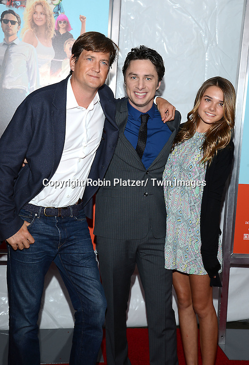 """Bill Lawrence, Zach Braff and Charlotte Lawrence attends the New York Premier of """"Wish I was Here"""" on July 14, 2014 at The AMC Theatres Lincoln Square in New York City."""