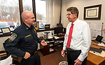 WATERTOWN, CT-122220JS08- Watertown Police Chief John C. Gavallas, right, talks with  Deputy Police Chief Josh Bernegger in his office on Tuesday. Chief Gavallas will <br /> be retiring from the department after 51 years.  <br /> Jim Shannon Republican-American