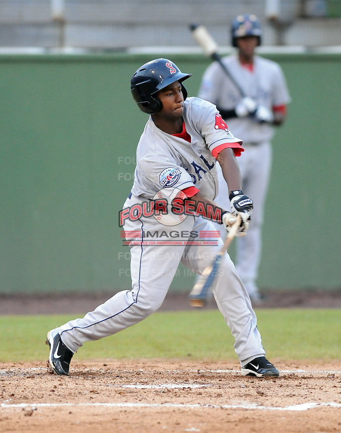 Outfielder Wilfred Pichardo (28) of the Salem Red Sox, Carolina League affiliate of the Boston Red Sox, in a game against the Potomac Nationals on June 16, 2011, at Pfitzner Stadium in Woodbridge, Va. (Tom Priddy/Four Seam Images)