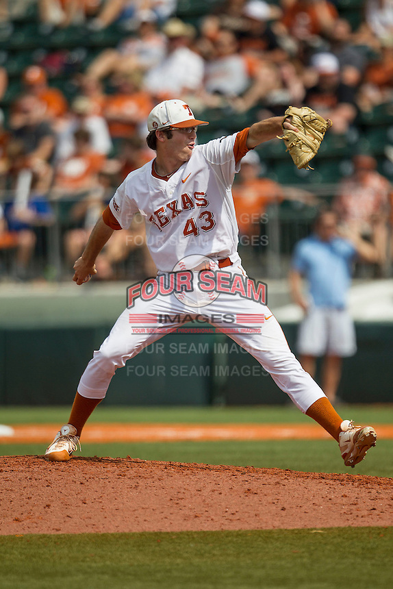 Texas Longhorns pitcher John Curtiss #43 delivers a pitch to the plate during the NCAA baseball game against the Oklahoma State Cowboys on April 26, 2014 at UFCU Disch–Falk Field in Austin, Texas. The Cowboys defeated the Longhorns 2-1. (Andrew Woolley/Four Seam Images)