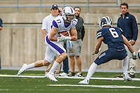 8 October 2016: Amherst College Purple & White Wide Receiver Nick Widen, a Senior from Weston, MA, gains yardage against the Middlebury College Panthers at Alumni Stadium in Middlebury, Vermont. The Panthers edged out the Purple & While 27-26. Mandatory Credit: Ed Wolfstein Photo *** RAW (NEF) Image File Available ***