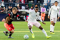 WASHINGTON, DC - MARCH 07: Julian Gressel #31 of DC United moves up on Andrés Reyes #3 of Inter Miami during a game between Inter Miami CF and D.C. United at Audi Field on March 07, 2020 in Washington, DC.