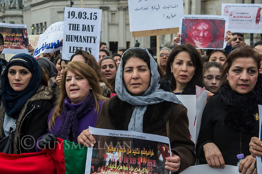 Justice for Farkunda vigil in Trafalgar Sqaure London 29-3-15 Afghan diaspora rally to demand justice for Farkhunda the woman murdered in Kabul on March 19th 2015 by a mob of men who beat her to death and threw her body in a river. She was falsely accused of burning a Q'ran.