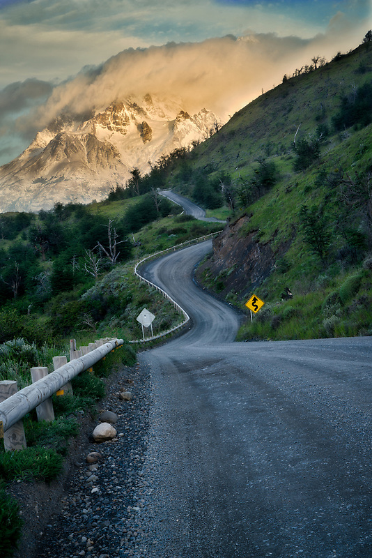 Paine Mastiff mountains  and road at sunrise . Torres del Paine National Park, Chile, Patagonia