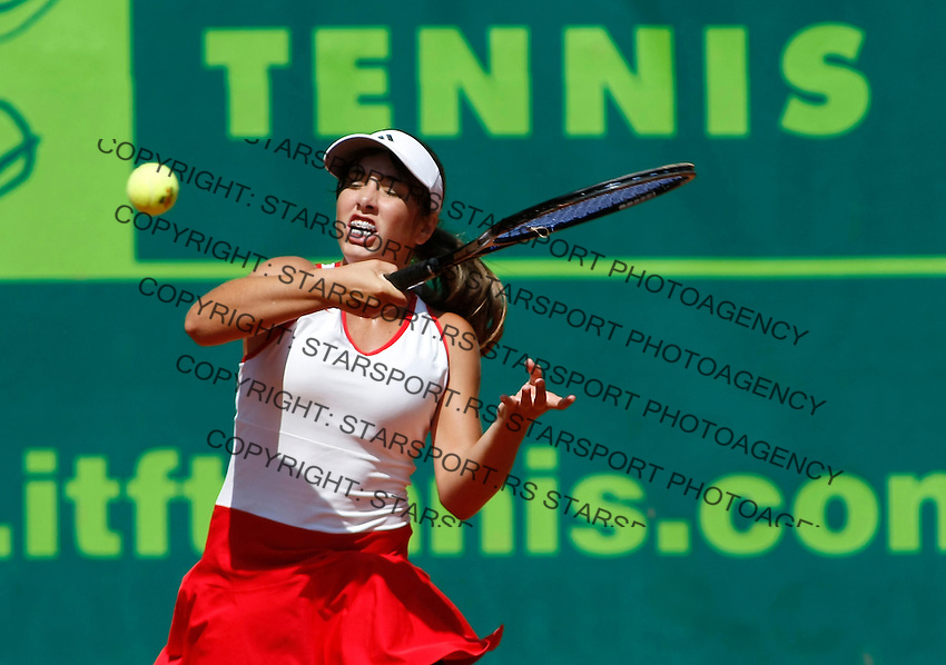 Tenis, World Championship U-14.USA Vs. Austria.Julia Grabher Vs. Brooke Austin.Brooke Austin, returnes.Prostejov, 02.08.2010..foto: Srdjan Stevanovic/Starsportphoto ©
