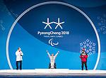 Collin Cameron, PyeongChang 2018 - Para Nordic Skiing // Ski paranordique.<br /> Collin Cameron receives his bronze medal in the men's biathlon 12.5km sitting // Collin Cameron reçoit sa médaille de bronze au biathlon masculin 12,5 km assis. 16/03/2018.