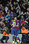 Football Season 2009-2010. Barcelona players Lionel Messi and  Bojan Krkic celebrating a goal during their spanish liga soccer match at Camp Nou stadium in Barcelona. January 16, 2010.