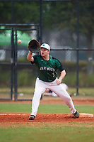 Dartmouth Big Green first baseman Michael Calamari (3) stretches for a throw during a game against the Southern Maine Huskies on March 23, 2017 at Lake Myrtle Park in Auburndale, Florida.  Dartmouth defeated Southern Maine 9-1.  (Mike Janes/Four Seam Images)
