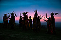 01/05/19<br /> <br /> Members of Powderkegs Morris 'dance-up-the-dawn' to greet the May Day sunrise on top of Windgather Rocks in the heart of the Peak District on the Derbyshire, Cheshire border.<br /> <br /> <br /> All Rights Reserved, F Stop Press Ltd +44 (0)7765 242650  www.fstoppress.com rod@fstoppress.com