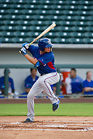 AZL Rangers shortstop Chris Seise (8) at bat against the AZL Cubs on July 24, 2017 at Sloan Park in Mesa, Arizona. AZL Cubs defeated the AZL Rangers 2-1. (Zachary Lucy/Four Seam Images)