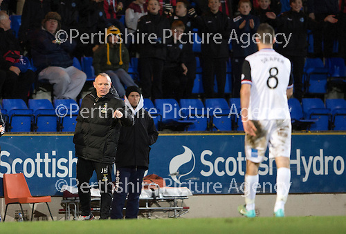 St Johnstone v Inverness Caledonian Thistle...20.12.14   SPFL<br /> Ross Draper walks off the pitch towards Yogi Hughes<br /> Picture by Graeme Hart.<br /> Copyright Perthshire Picture Agency<br /> Tel: 01738 623350  Mobile: 07990 594431