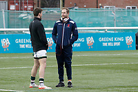 Mark Bright of London Scottish speaks with Peter Lydon of Ealing Trailfinders during the Greene King IPA Championship match between Ealing Trailfinders and London Scottish Football Club at Castle Bar , West Ealing , England  on 19 January 2019. Photo by Carlton Myrie/PRiME Media Images