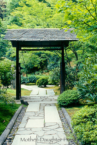 Formal garden gate with unusual walkway, Butchart Gardens, British Columbia, Canada,